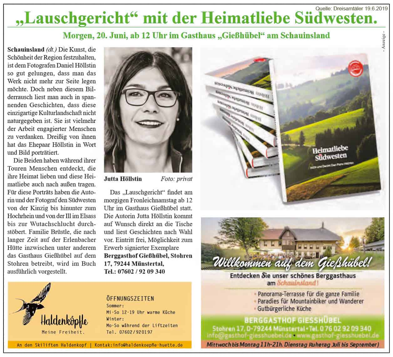Zu Gast mit Lauschgeschichten im Gasthof Gießhübel am Schauinsland